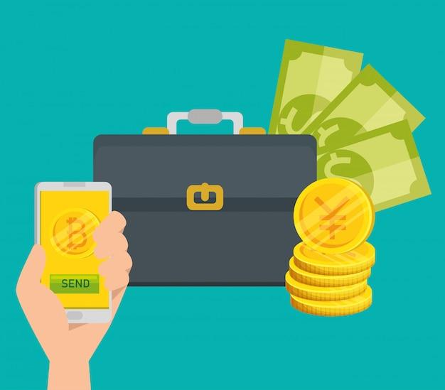 Bitcoin smartphone und rechnungen währung Kostenlosen Vektoren