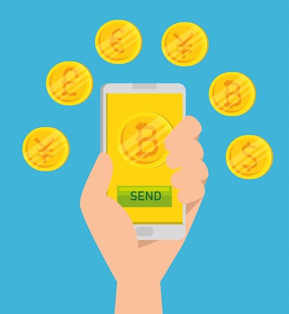 Bitcoin-währung virtuell im smartphone Kostenlosen Vektoren