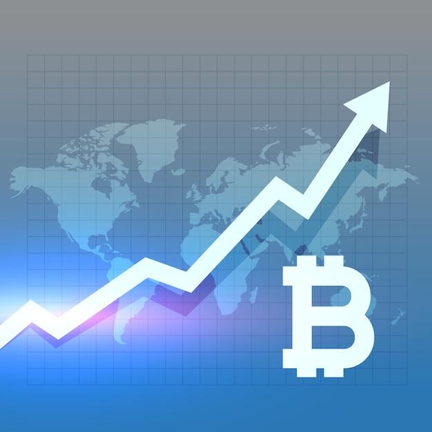 Bitcoing-wachstumsdiagramm-vektordesign Kostenlosen Vektoren