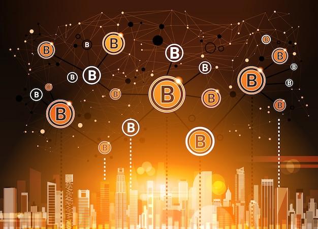 Bitcoins crypto currency über moderner stadt-hintergrund-digital-netz-geld-technologie Premium Vektoren