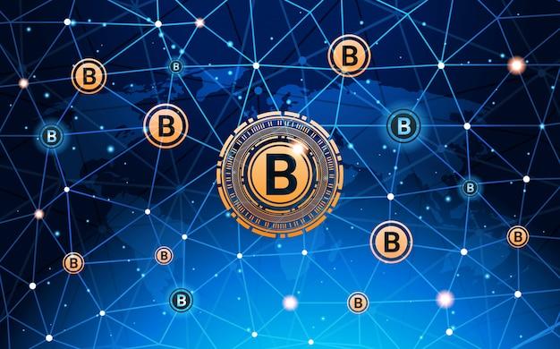 Bitcoins-geld-krypto-währungs-konzept-moderne netz-zahlungs-technologie-fahne Premium Vektoren
