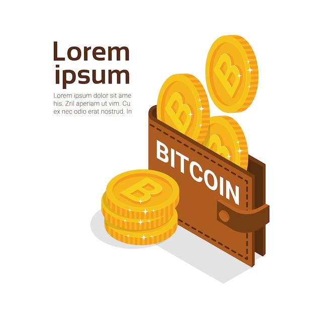 Bitcoins-geldbörse über weißem hintergrund mit kopien-raum-modernem digital-geld-krypto-währungs-konzept Premium Vektoren