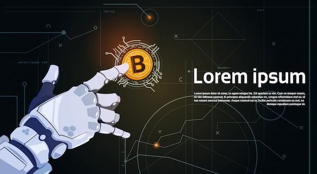 Bitcoins-krypto-währungs-konzept-roboter-hand, die goldene bit-münzen-digital-netz-geld-bergbautechnologie berührt Premium Vektoren