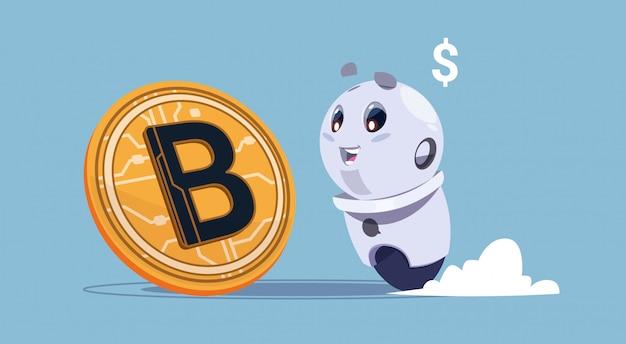Bitcoins-krypto-währungs-netter roboter, der goldenes bit-münzen-digital-netz-geld-bergbau-konzept betrachtet Premium Vektoren