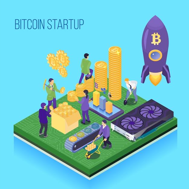 Bitmünze beginnen oben blaue isometrische illustration des projektkryptowährungsbergbaus und der transaktionscomputerhardware Kostenlosen Vektoren