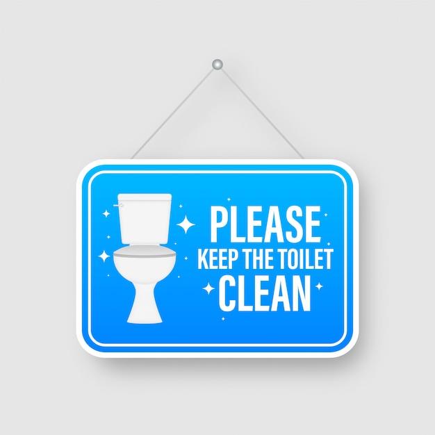 Bitte bewahren sie die toilettenplatte mit flachem design auf. lager illustration Premium Vektoren