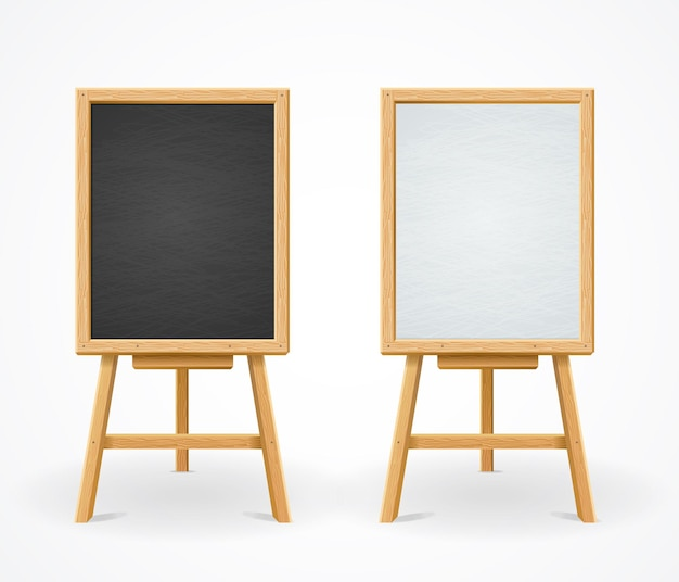 Black board und white set on easel, menü im restaurant Premium Vektoren