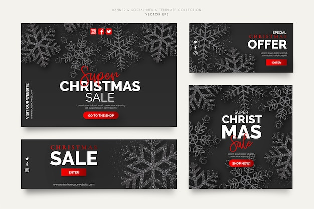 Black christmas sale banner vorlagen Kostenlosen Vektoren