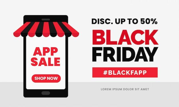 Black friday app verkauf rabatt banner vorlage Premium Vektoren