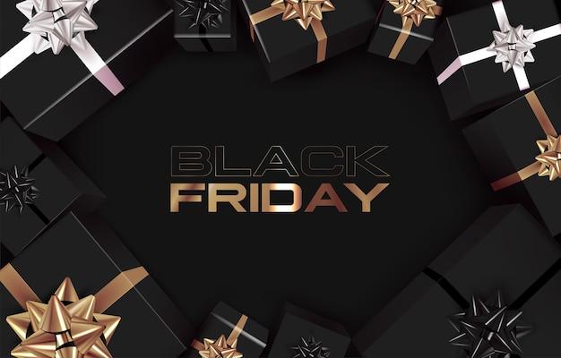 Black friday banner vorlage mit schwarzer geschenkbox mit draufsicht und goldenen bändern Premium Vektoren