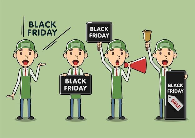 Black friday cartoon verkäufer assistent set Premium Vektoren