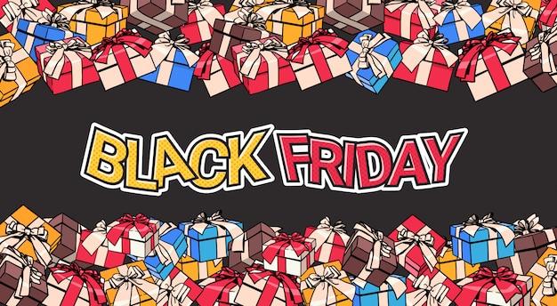 Black friday-fahnen-design mit geschenk und geschenkboxen auf hintergrund-einkaufsplakat-konzept Premium Vektoren