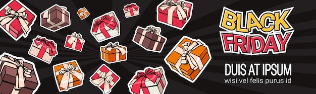 Black friday horizontal banner design mit geschenk- und geschenkboxen auf hintergrund shopping template po Premium Vektoren