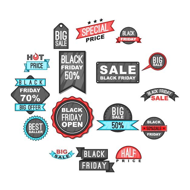 Black friday-ikonen eingestellt, karikaturart Premium Vektoren