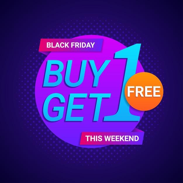 Black friday kaufen 1 erhalten 1 kostenlose banner in neonfarbe hintergrund Premium Vektoren