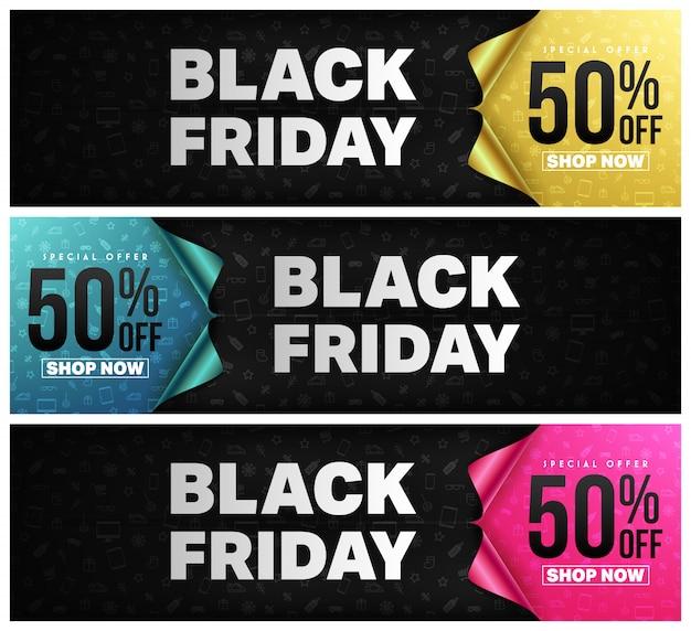 Black friday-plakat oder -fahne mit offenem geschenkpapierkonzept Premium Vektoren