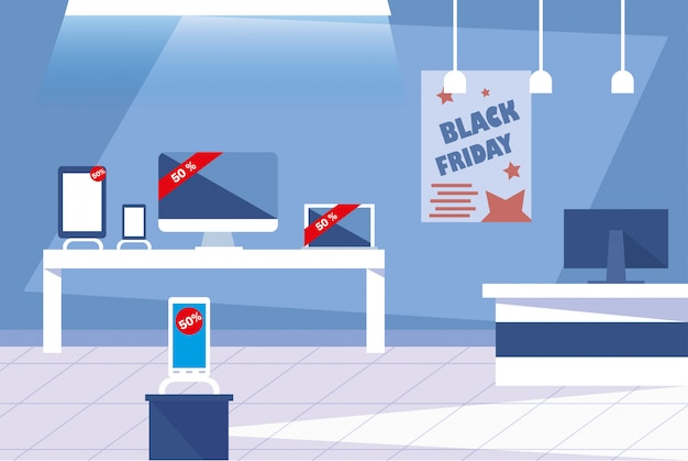 Black friday promotion sale shopping banner mit produkten und rabatt Premium Vektoren