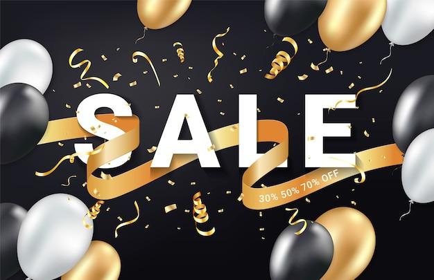 Black friday sale anzeigen feier banner vorlage. goldenes konfetti, luftballons und glitzerband. festlicher veranstaltungshintergrund. Premium Vektoren