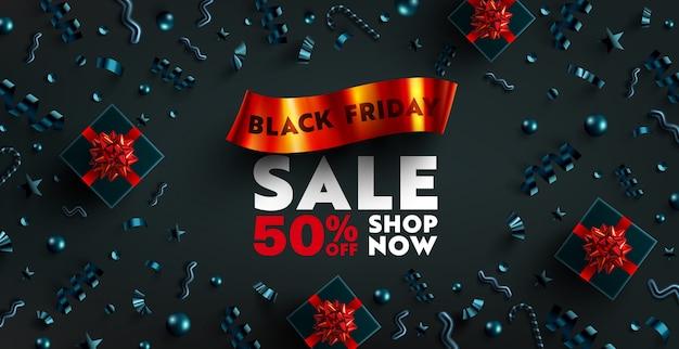 Black friday sale banner für einzelhandel, shopping oder promotion mit rotem band, schwarzer geschenkbox und weihnachtselement auf dunklem hintergrund. black friday banner design. Premium Vektoren