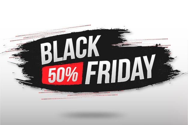 Black friday sale banner mit abstrakter pinselstruktur Kostenlosen Vektoren