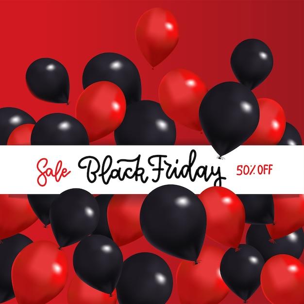 Black friday sale banner mit schwarzen und roten luftballons um weißes band mit gand gezeichnetem beschriftungstext. Premium Vektoren