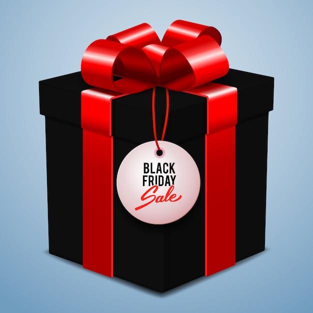 Black friday sale banner, schwarze geschenkbox mit roter schleife, einzelhandel, rabatt, sonderangebot Premium Vektoren