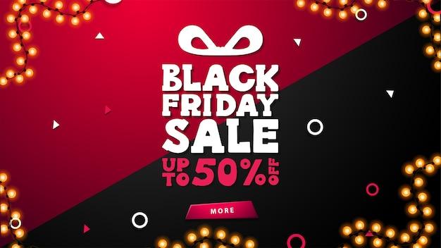 Black friday sale, bis zu 50% rabatt, schwarz-pinkes rabattbanner mit angebot in form von geschenkbox, girlandenrahmen und knopf Premium Vektoren