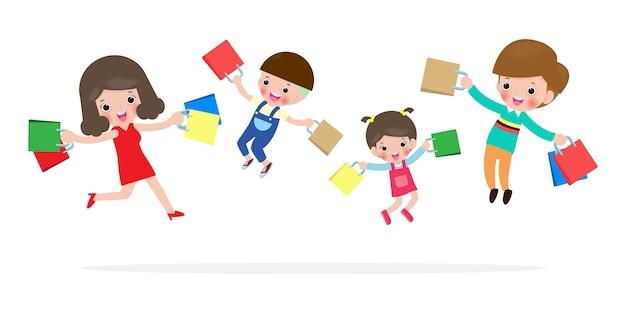 Black friday sale event, happy family shopping, eltern und kinder mit einkäufen im einkaufswagen, big sale. kauf von waren und geschenken. einkaufskonzept lokalisiert auf weißer illustration Premium Vektoren
