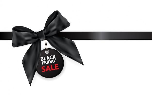 Black friday sale labei mit dem bogen und band lokalisiert auf weiß Premium Vektoren