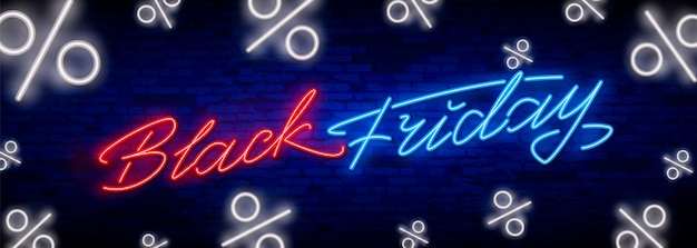 Black friday sale neon schriftzug banner Premium Vektoren