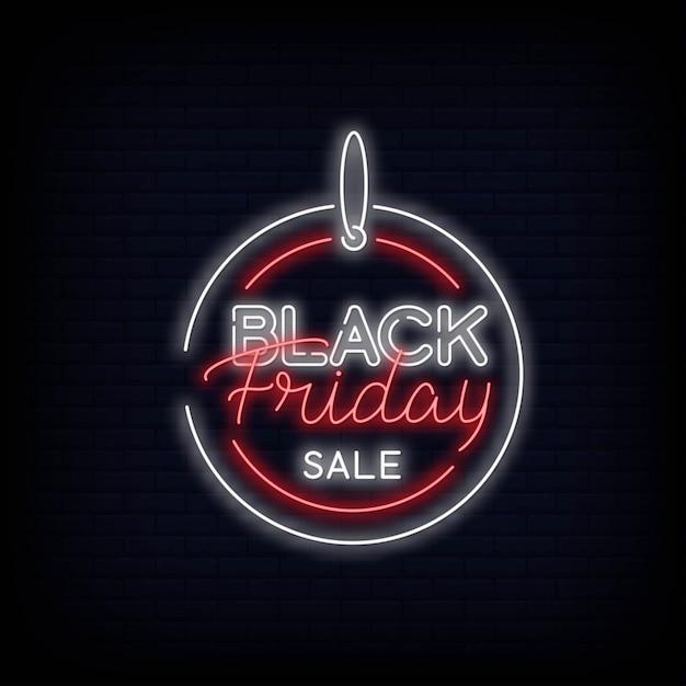 Black friday sale neon text design Premium Vektoren