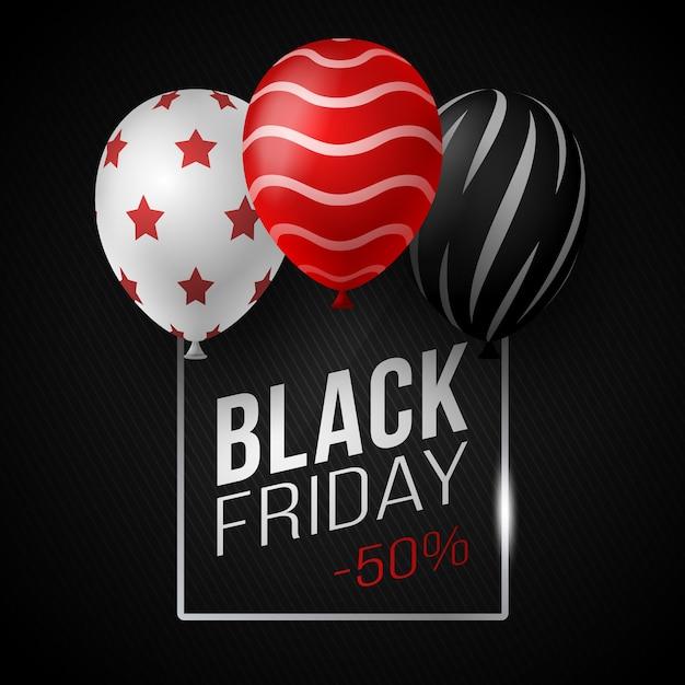 Black friday sale poster mit glänzenden luftballons auf schwarzem hintergrund mit quadratischem glasrahmen. illustration. Premium Vektoren