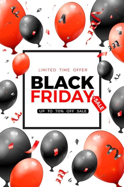 Black friday sale poster mit glänzenden roten und schwarzen luftballons, etikett und konfetti. für black friday sale flyer. realistische illustration auf weißem hintergrund Premium Vektoren