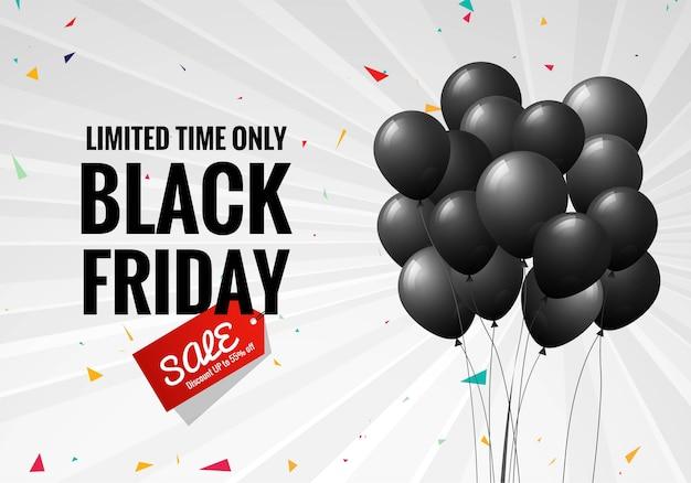 Black friday sale poster mit luftballons und konfetti Kostenlosen Vektoren