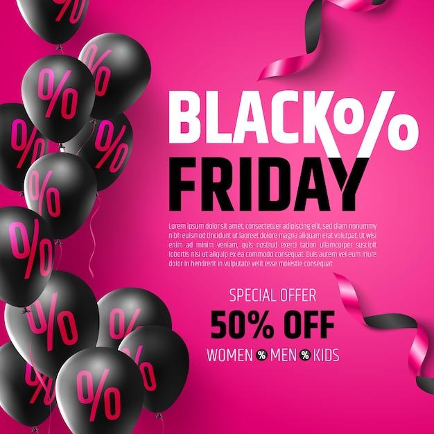 Black friday sale poster von ballons mit prozentzeichen, rabattzeichen und großbuchstaben Premium Vektoren