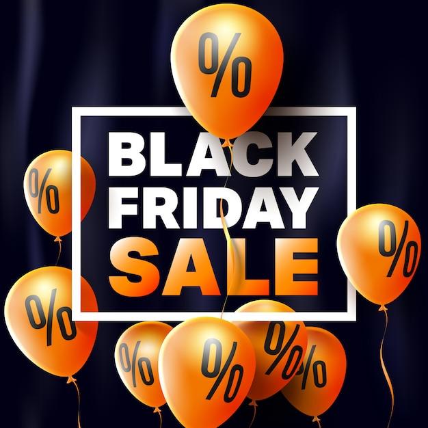 Black friday sale poster von balloons Premium Vektoren