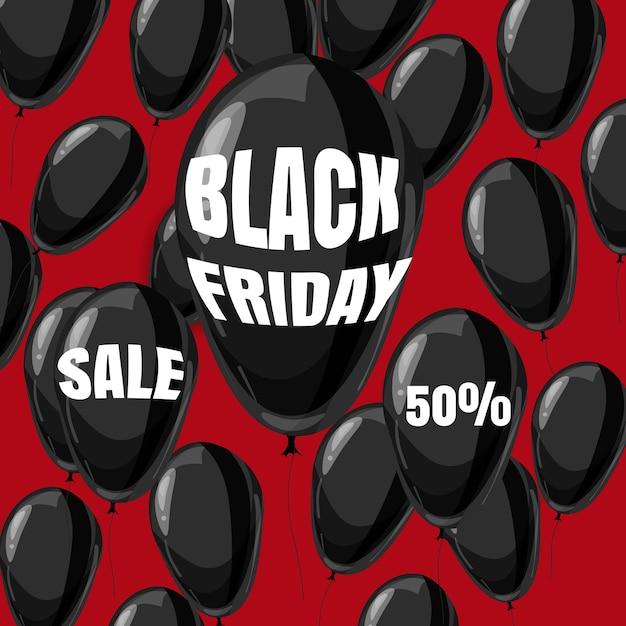 Black friday sale, rabatt, poster mit schwarzen luftballons, cartoon-stil Premium Vektoren