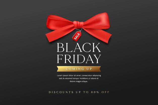 Black friday sale. rote bänder, banner Premium Vektoren