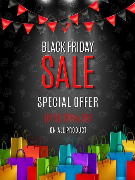 Black friday sale sonderangebot poster oder banner vorlage mit bunten einkaufstaschen auf dunkler farbe Kostenlosen Vektoren