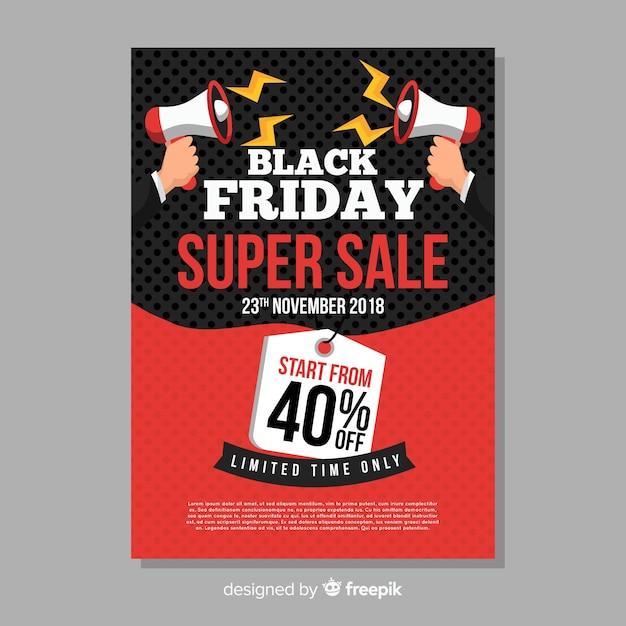 Black friday sales flyer vorlage mit megaphon Kostenlosen Vektoren