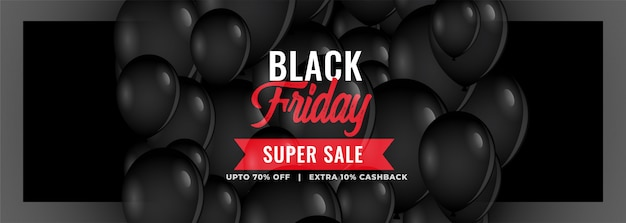 Black friday super sale banner mit luftballons Kostenlosen Vektoren