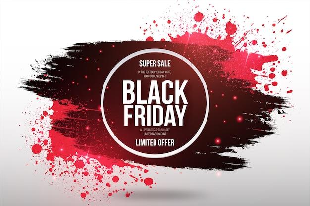 Black friday super sale banner mit pinselrahmen Kostenlosen Vektoren