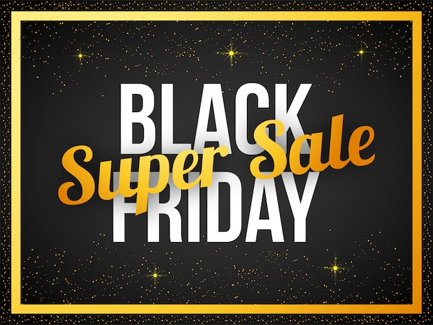 Black friday super sale text banner Premium Vektoren