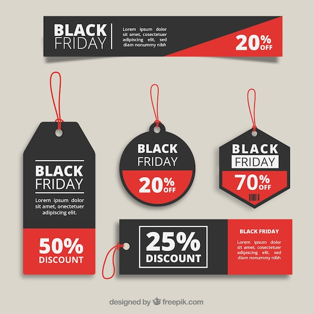 Black Friday-Tags-Auflistung Premium Vektoren