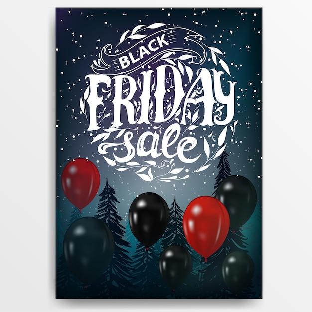 Black friday-verkauf. banner mit ballons und schriftzug Premium Vektoren