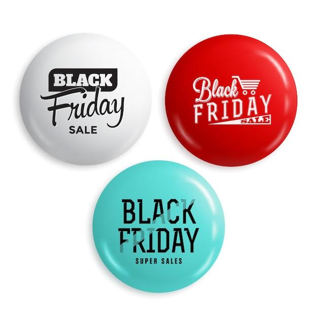 Black friday-verkauf glänzend schaltflächen oder abzeichen gesetzt Premium Vektoren