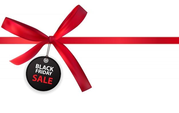Black friday-verkaufs-aufkleber mit dem bogen und band lokalisiert auf weiß Premium Vektoren