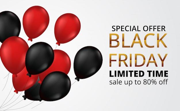 Black friday-verkaufsangebot-fahnenschablone mit dem fliegen des roten und schwarzen gasheliumballons Premium Vektoren