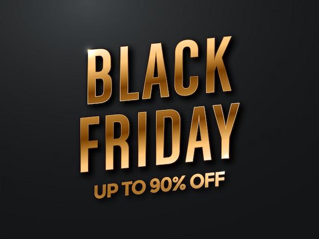 Black friday-verkaufsentwurf mit schwarz- und goldbeschriftung Premium Vektoren