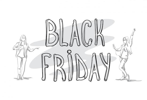 Black friday-verkaufsfahne mit skizzen-leute-schattenbild-feiertags-einkaufskonzept Premium Vektoren